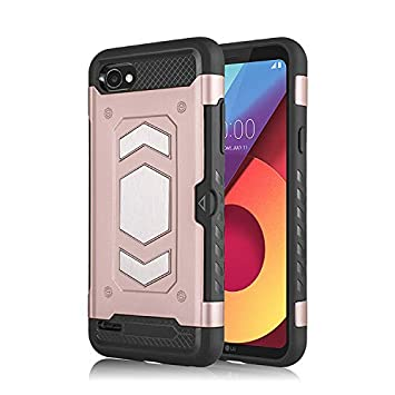 Case for LG Q6 Color : Red Multi-Functional Anti-Drop Pluggable Card 2-in-1 Vehicle Mounted Protection Hard Back Phone Case Cover