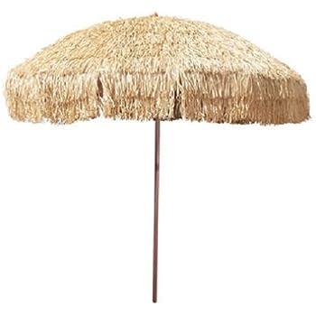 8u0027 Hula Umbrella Thatched Tiki Patio Umbrella Natural Color 8 Foot Diameter  Tropical Look Aluminum Pole 16 Fiberglass Ribs