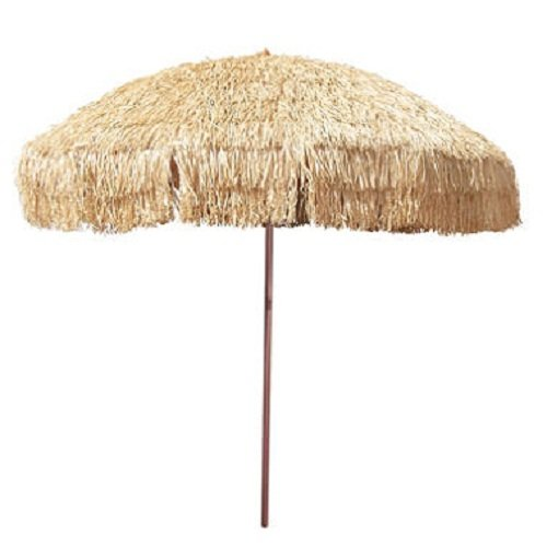 - 8' Hula Umbrella Thatched Tiki Patio Umbrella Natural Color 8 Foot Diameter Tropical Look Aluminum Pole 16 Fiberglass Ribs