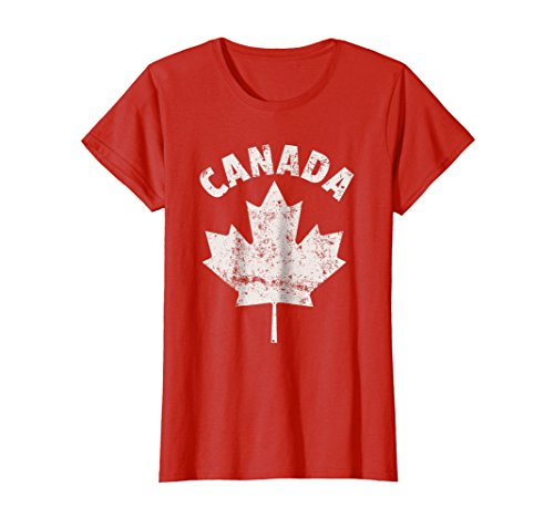 Womens Flag Of Canada Shirt Red White Fun Cool Canadian T Shirt Large Red