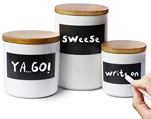 Sweese Porcelain Canisters - Set of 3 - Airtight Bamboo Lid, Reusable Chalkboard