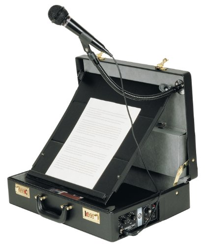 Oklahoma Sound 007HT PA-In-Case Attache Sound Lectern, 18'' Length x 13'' Width x 5'' Height, Black by Oklahoma Sound