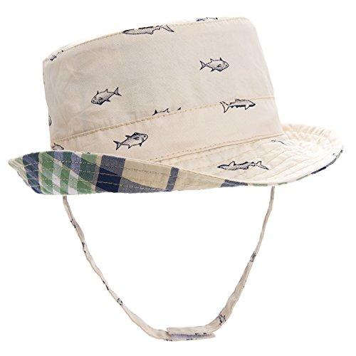 ERISO Baby Toddler Plaid Bucket Reversible Sun Protection Animal Hat ((21.2