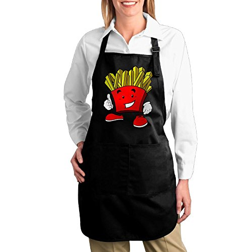 Costumes Ideas For Fat Guys (Dogquxio Cartoon French Fries Kitchen Helper Professional Bib Apron With 2 Pockets For Women Men Adults Black)