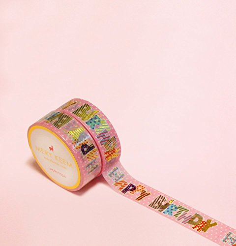 Happy Birthday with some in Gold Foil Washi Tape for Planning • Scrapbooking • Arts Crafts • Office • Party Supplies • Gift Wrapping • Colorful Decorative • Masking Tapes • DIY from Mery Keem