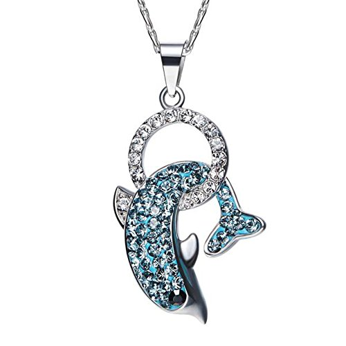 Fetching Pave Crystal Dolphin 925 Sterling Silver Pendant Necklace Made With Crystals From (Sterling Dolphin Pendant)