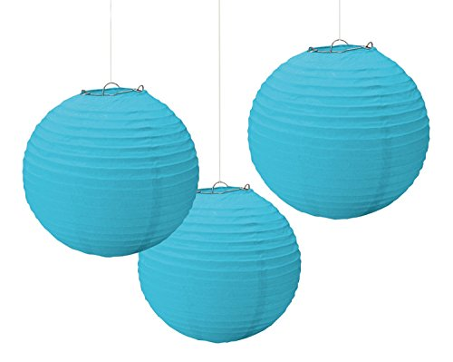 "Amscan Party Perfect Round Paper Lanterns Decorations, Caribbean Blue, 9"", Pack of 3 Party Supplies"