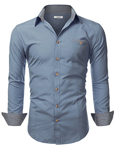 (IDARBI Mens Long Sleeve Tailored Checkered Cuff Slim Fit Shirt Navy L)