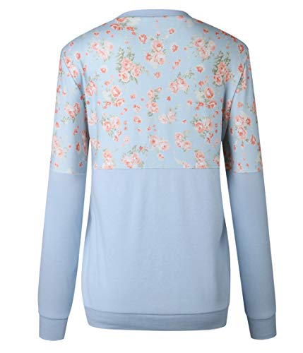 Shirts Pullover T Imprime Pulls Automne Sweat Longues Bleu Blouse Shirts Manches Jumpers Hauts Fashion Col Casual Shirts Printemps pissure Tops Femmes Rond gAqxUx