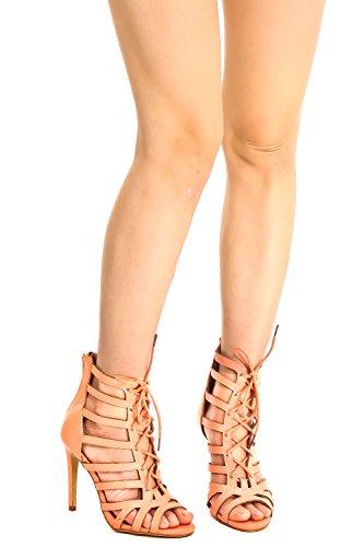 Elegante Design Ritaglio Lettera Pu Pizzo Cinghie Anteriori Alla Caviglia Punta Aperta Cerniera Posteriore Scarpe Tacco A Spillo Pesca