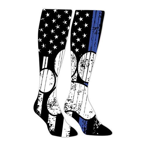 IOG9 German Shepherd Paw Flag Compression Socks Funny Patterned Long Stockings Knee High Family Socks