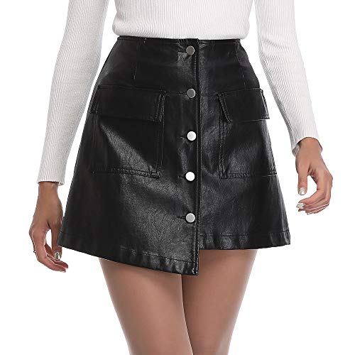 - Haadid Women's Asymmetrical Hem PU Leather Overlap Bodycon Button Front Casual Mini Skirt S