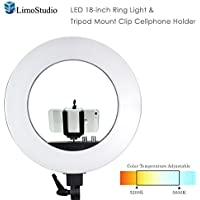 LimoStudio LED 18 inch Ring Light 3200K–5600K and Dimmable with Camera Adapter & Monopod Tripod Mount Clip Cellphone Holder, AGG2396V2