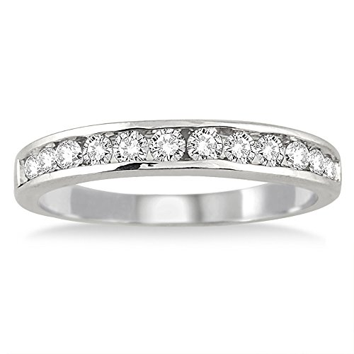 AGS Certified 1/2 Carat TW Channel Set Diamond Band in 10K White Gold (8)