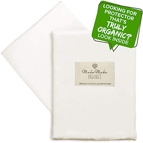 MakeMake Organics Organic Cotton Pillow Protector (Set of 2) GOTS Certified Organic Pillow Cases Zippered Natural Pure Breathable Dust Mite Allergy Resistant Fits Queen Pillow (Pearl White, 20x30)