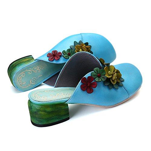 Sandalias Zapatillas Shoes Gracosy Jardín Heel Zapatos Vintage Casa Azul Cuero Al De Flor Libre Loafer Mujer Para Planas Verano Block Mujer Aire Mule Backless w4dXFdqR