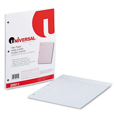 Mediumweight 16-lb. Filler Paper, 11 x 8-1/2, College Ruled, White, 100 Shts/Pk, Total 40 PK, Sold as 1 Carton