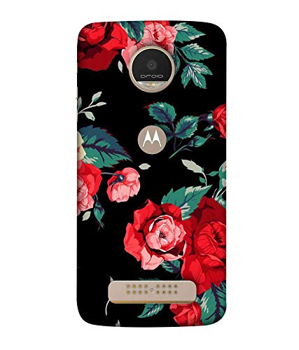 Yunic Printed Colorful Red  amp; Multi Floral Back Case Cover for Motorola Moto Z Play