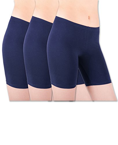 Sexy Basics Womens 3 Pack Sheer & Sexy Cotton Spandex Boyshort Yoga Bike Shorts (Small-5, 3 Pack - Deep Navy)