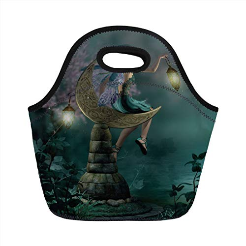 Lunch Bag Portable Bento,Fantasy,Little Pixie with Lantern Sitting on Moon Stone Fairytale Myth Kitsch Artwork,Gold Teal Lilac,for Kids Adult Thermal Insulated Tote Bags