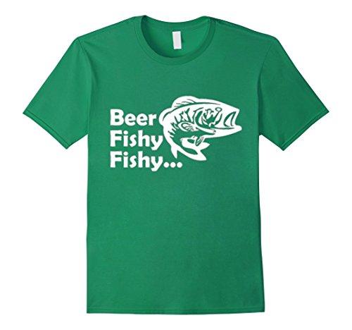 Mens Beer Fishy Fishy Funny Fish Shirt Gift For Fisherman XL Kelly Green