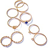 LANE WOODS Multiple Rings Set Stackable Midi Kunckle Anti-tarnished Real Gold Plated Minimalist Simple Thin Cute Dainty Rings Pack for Women Ladies Girls (Rose Gold/Lapis Lazuli)