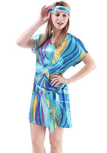 NiSeng mujer camisones manga corta verano impresión colorida satín pyjamas Raya Azul