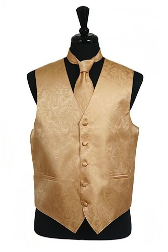 Classy Mens Gold Paisley Tone on Tone Vest Tie and Hanky 3 Piece Set
