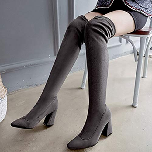 Boots Chunky Sjjh Heel Grey High Dark Thigh Women XPTZqOwT8