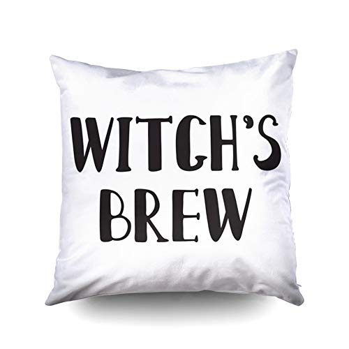 KIOAO Easter Standard Pillow Cases 16X16Inch Soft Square Throw Pillowcase Covers Halloween Grunge Modern Typographic Witches Brew Calligraphy Isolated Use Halloween Printed with Both Sides ()