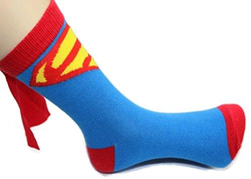 Rush Dance Unisex Kids Children's Super Hero Knee High Socks with Cape (Kids (3-6 Years Old), Red & (Super Hero Child)