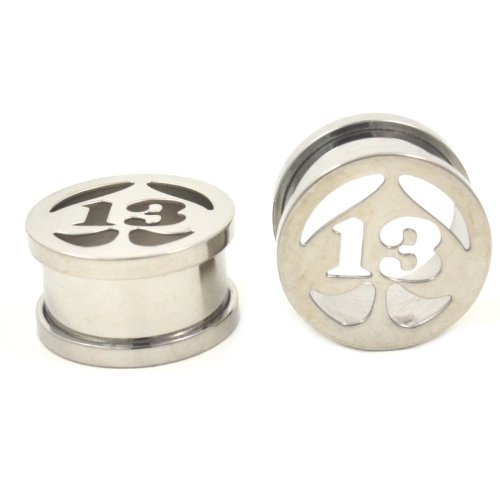 Pair (2) Stainless Steel Lucky # 13 Spade Ear Plugs Hollow Screw-Fit Tunnels - 9/16'' 14MM by BYB Plugs