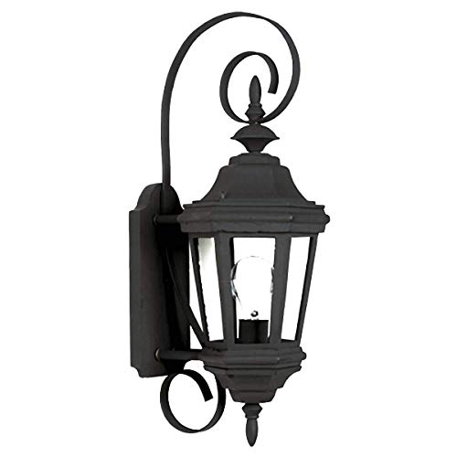 (Kenroy Home 16312BL Estate 1-Light Small Wall Lantern, Black)