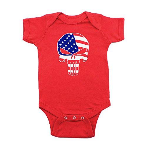Crazy Baby Clothing American Flag Punisher Skull Short Sleeve Infant Bodysuit 3-6M, - Body Punisher