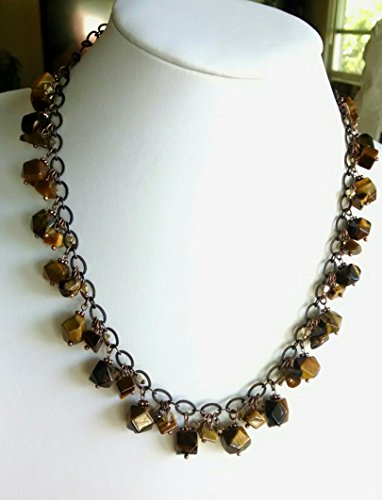 (Tiger eye nugget necklace and earring set)