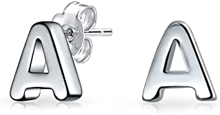 Abc Minimalist Geometric Capital Block Alphabet Letter Initial Stud Earrings For Teen For Women 925 Sterling Silver