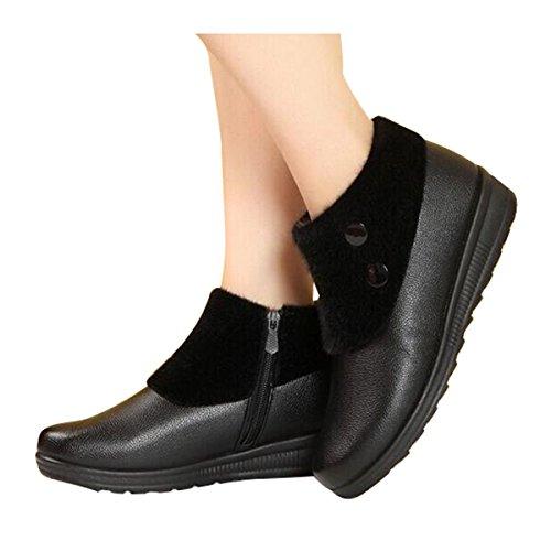 bd8f352b702 ... Estimado Tiempo Tobillo Botas De Invierno Mujer Cuña Cremallera Lateral  Botas De Piel Sintética Botines Negro