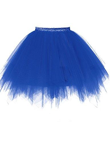 Vintage Slip Half (Beiqian Women Short Petticoat Skirt Ballet Bubble Tutu Half Slip Vintage 1950s Underskirt (Large/X-Large, Royal Blue))
