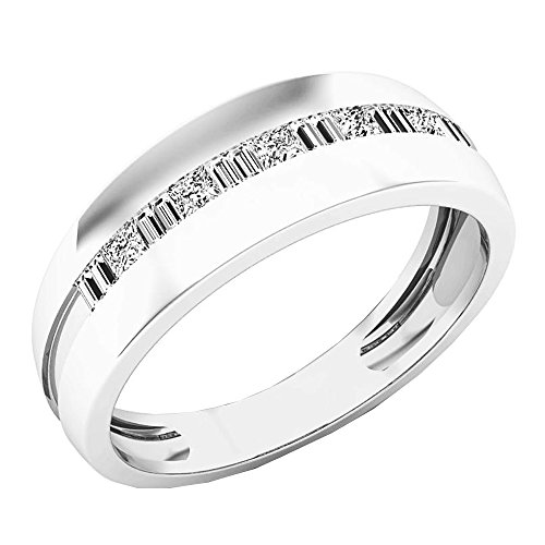 Dazzlingrock Collection 0.50 Carat (ctw) 14K White Gold Round & Baguette Cut Diamond Mens Wedding Band 1/2 CT (Size 10)