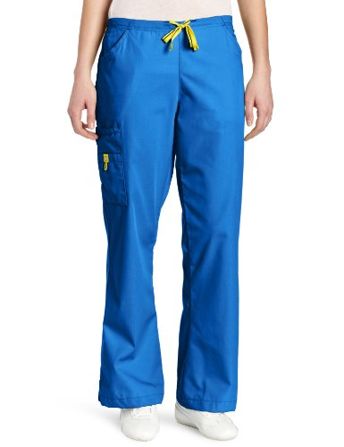 picture of WonderWink Women's Scrubs Romeo 6 Pocket Flare Leg Pant, Royal, Medium/Tall