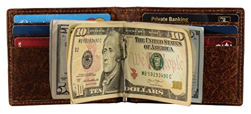 Money Clip Leather Wallet For Men-RFID Blocking Front Pocket Slim Minimalist Wallet With ID Window (BARK TAN) ()