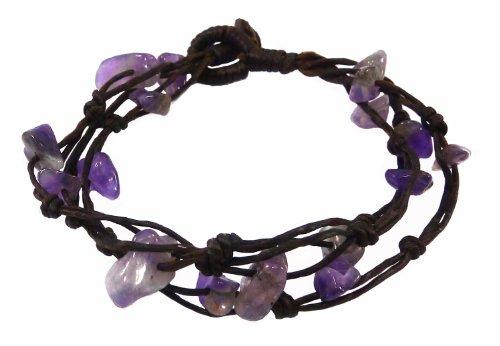 Bijoux de Ja Handwoven Purple Stone Chip Bead Wax Cord Strand Bracelet 7.0 Inches