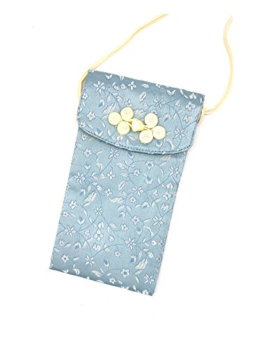 Chinese Silk Brocade Embroidered Eyeglass Pouch Case Holder Cellphone Carring Case Handbag with Neckstrap Lanyard (Tiffany blue)