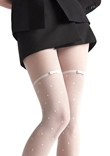 Marilyn Designer Hosiery w/Polka Dot Pantyhose (S/M, White) by MARILYN