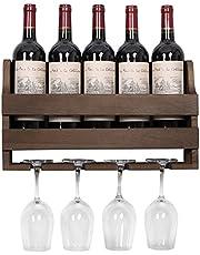 OROPY Wijnrek met glazen houder, vintage flessenrek van hout, voor keuken, eetkamer, bar, woon- en keuken, volledig gemonteerd