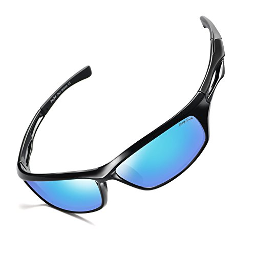 GREY JACK Lightweight Polarized Sports Sunglasses UV Protection Lens Tr90 Durable Frame for Men Women Black Frame ice Blue Lens For Sale