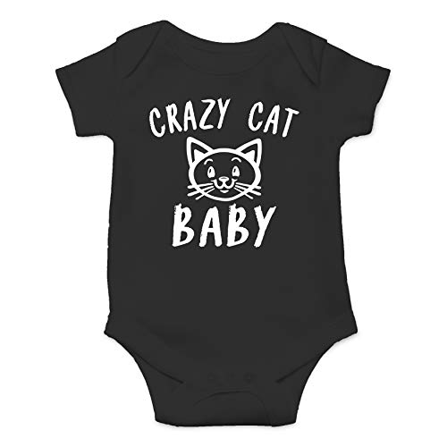 Cute Kitten Crazy Cat Baby - Funny Cute Infant Creeper, One-Piece Baby Bodysuit (Black, 6 Months)