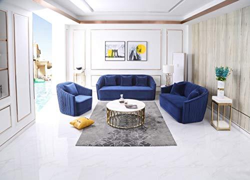 Limari Home LIM-75534 Valenzano Collection Modern Style Velvet Living Room Sofa, Loveseat & Chair Set with Brass Nailhead Trim & 6 Throw Pillows, Blue