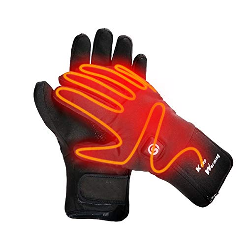 Heated Gloves Electric Hand Warmer Rechargeable Powered Li-ion Battery up to 6 Hours, Snow Winter Warm Outdoor Cycling, Motorcycle, Hiking, Snowboarding, Battery Men Women (XS)
