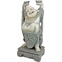 Design Toscano Jolly Hotei Laughing Buddha Asian Decor Garden Statue, 25 Inch, Polyresin, Two Tone Stone